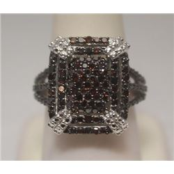 Beautiful Red Diamonds  Silver Ring