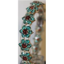 Gorgeous Rose Garnet and Russian Chrome Diopside Bracelet