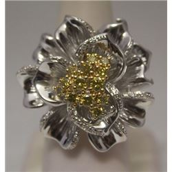 Lavish Flower Golden & White Diamonds Silver Ring