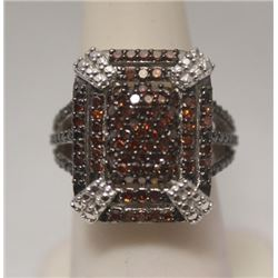 Dazzling Red Diamonds Silver Ring