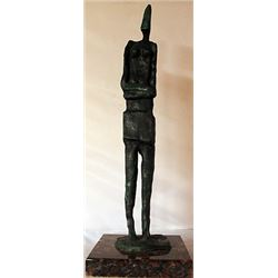 Patina Bronze Sculpture on a Marble Base