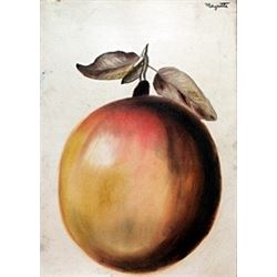 The Apple - Pastel Drawing on Paper - Rene Magritte