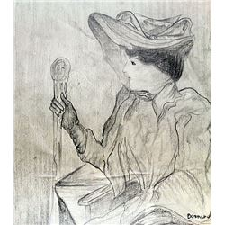Woman with Hat - Drawing on paper - P. Bonnard