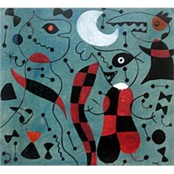 Personajes En El Parque - Oil on Paper - Joan Miro