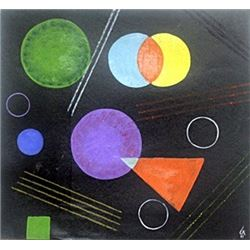 The Circles II - Oil Painting on Paper - W. Kandinsky