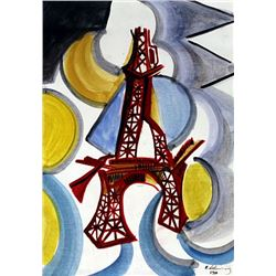 Eiffel Tower 1910' - Oil on Paper - R. Delaunay