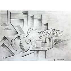 The Guitar - Drawing on Paper - Juan Gris