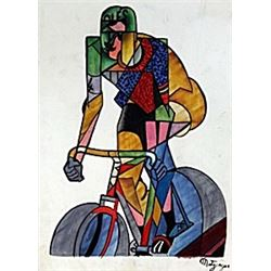 Cycling - Oil on Paper - Jean Metzinger