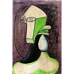 Head of a Woman V - Pastel on Paper - Picasso