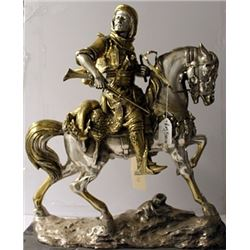 Arab on a Horseback - TwoTone Gold and Bronze Sculpture - Bayre