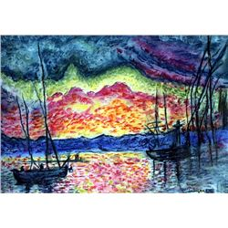 The Port Saint Tropez - Pastel on Paper - Paul Signac
