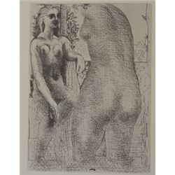 Nude Facing Statue - Lithograph -  Picasso