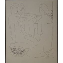 three nudes and flowers - Lithograph  picasso