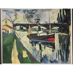 The Seine at possy - Lithograph -  Maurice de Vlaminck (2)