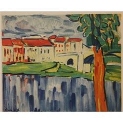 Chatou with red Tree - Lithograph -  Vlaminck