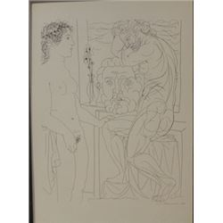 Femade model and two sculptures - Lithograph -  picasso