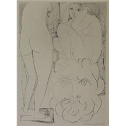 Nude Viewing two sculptures - Lithograph -  Picasso
