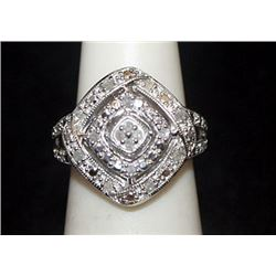 Lady's Fancy Silver Ring with Diamonds (78I)