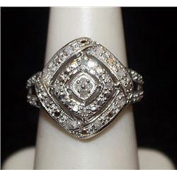 Lady's Fancy Silver Ring with Diamonds (81I)