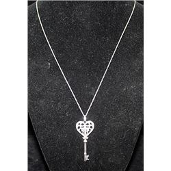 Gorgeous Silver Heart-Cross-Key Shape Necklace with Diamonds (92I)