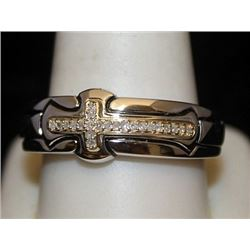 Unisex Silver Cross Ring with Diamonds (98I)