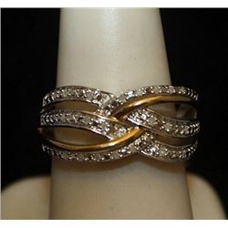 Lady's Beautiful 14kt over Silver Ring with Diamonds (111I)