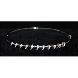 Fancy Silver Bangle with Diamonds (123I)