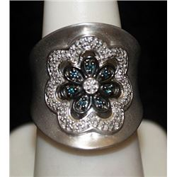 Gorgeous Siver Ring with Lab Alexandrites & Diamonds (127I)