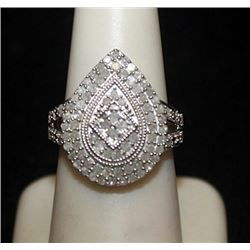 Very Fancy Silver Pear Shape Ring with Cluster Diamonds (129I)