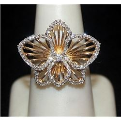 Gorgeous 14kt over Silver Flower Shape Ring with Diamond (139I)