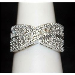 Lady's Fancy Silver Ring with Diamonds (149I)