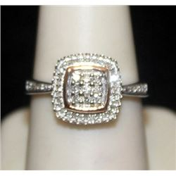Gorgeous 14kt over Silver Ring with Cluster Diamonds (152I)