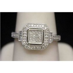 Lady's Fancy Silver Ring with Diamonds (159I)