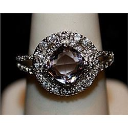 Fancy Kunzite & White Topaz SS Ring. (562L)