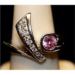 Gorgeous Pink Sapphire & White Topaz SS Ring. (722L)