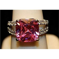 Fancy Pink Lab Sapphire Sterling Silver Ring. (723L)