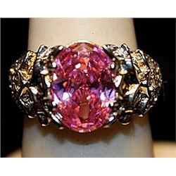 Gorgeous Pink Lab Sapphire & White Sapphires SS Ring. (745L)