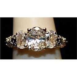 Fancy White Topaz Sterling Silver Ring. (773L)