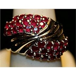 Fancy Rubies Sterling Silver Ring. (268L)