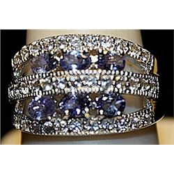 Fancy Tanzanites Sterling Silver Ring. (245L)