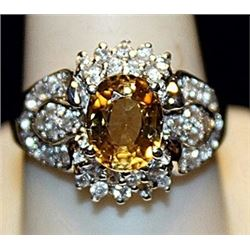 Gorgeous Golden Sapphire & White Sapphires SS Ring. (180L)
