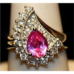 Beautiful Pink Sapphire & White Sapphires SS Ring. (519L)