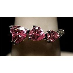 Fancy Pink Lab Sapphires & White Topaz SS Ring. (524L)