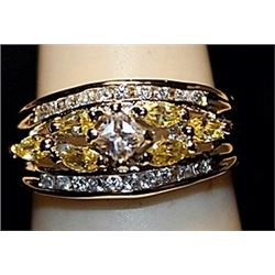 Beautiful Golden & White Topaz SS Ring. (536L)
