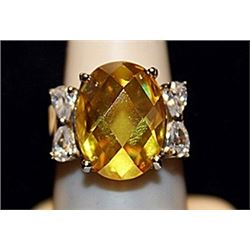 Fancy Lab Citrine & White Topaz SS Ring. (541L)