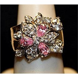 Gorgeous Pink and White Sapphires SS Ring. (552L)
