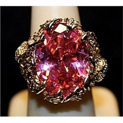 Beautiful Pink Lab Sapphire & White Topaz SS Ring. (554L)