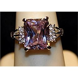 Fancy Lab Kunzite & White Topaz SS Ring. (556L)