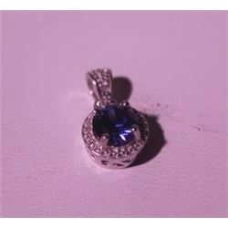 Exquisite Sterling Silver Pendant with Lab Blue Sapphire