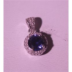 Exquisite Sterling Silver Pendant with Blue Sapphire